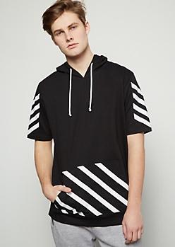 Black Varying Striped Hooded Tee