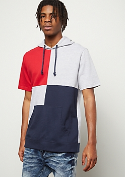 Gray Four Way Colorblock Hooded Tee