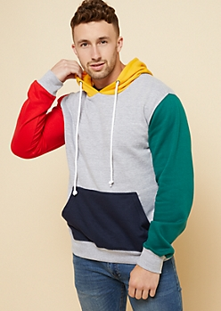 Gray Colorblock Fleece Hoodie