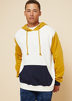 Mustard Colorblock Fleece Hoodie