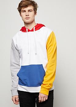 White Colorblock Retro Hoodie