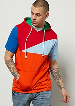 Bright Colorblock Short Sleeve Hoodie
