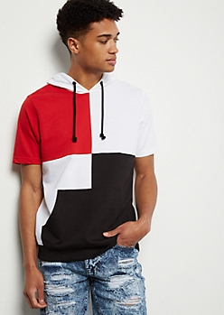 White Four Way Colorblock Hooded Tee