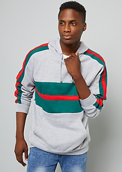 Gray Colorblock Side Striped Hoodie