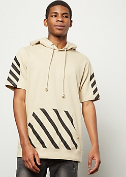 Sand Striped Short Sleeve Hooded Tee