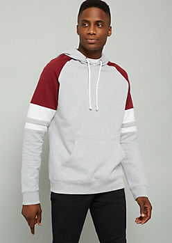 Gray Colorblock Varsity Striped Pullover Hoodie