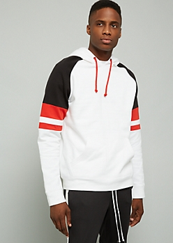 White Colorblock Varsity Striped Pullover Hoodie
