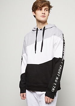 Black Diagonal Colorblock Trust No 1 Hoodie
