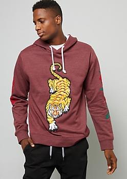 Burgundy Tiger Patch Rose Sleeve Hoodie