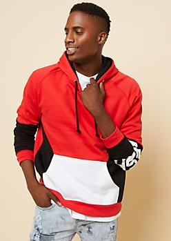 Red Colorblock Fresh Sleeve Hoodie