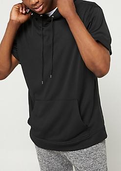 Black Mesh Short Sleeve Hoodie