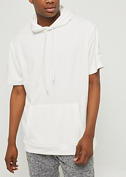 White Mesh Short Sleeve Hoodie