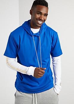 Royal Blue Mesh Short Sleeve Hoodie