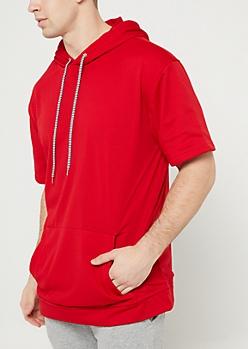 Red Mesh Short Sleeve Hoodie