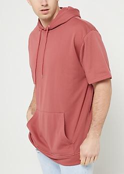 Medium Pink Mesh Short Sleeve Hoodie