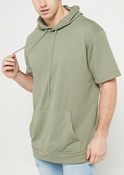 Olive Mesh Short Sleeve Hoodie
