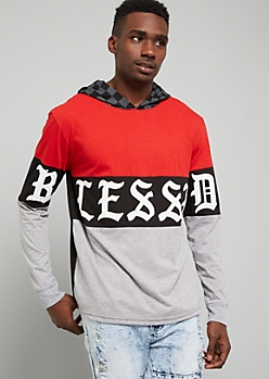 Red Blessed Checkered Print Hooded Tee