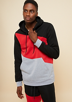 Red Colorblock Pullover Fleece Hoodie
