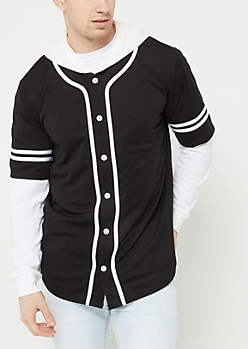 Black Contrast Trim Hooded Baseball Jersey