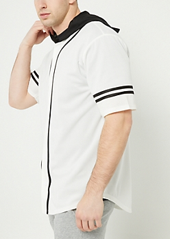 White Contrast Trim Hooded Baseball Jersey