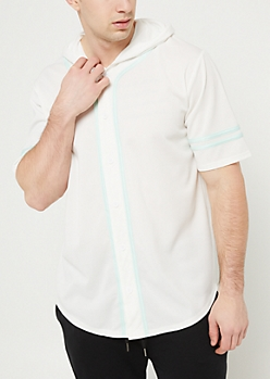 White With Mint Contrast Trim Hooded Baseball Jersey