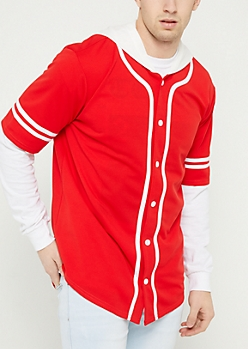 Red Contrast Trim Hooded Baseball Jersey