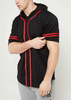 Black With Red Contrast Trim Hooded Baseball Jersey