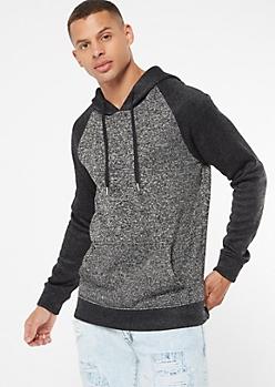 Black Marled Colorblock Pullover Hoodie