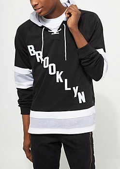 Black Brooklyn Hooded Hockey Sweatshirt