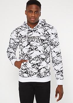 White Marble Print Savage Graphic Hoodie