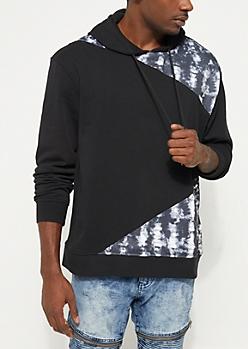 Black Tie Dye Colorblock Hoodie