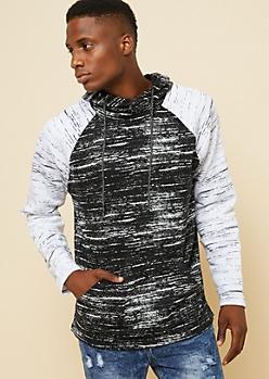 Black Space Dye Cross Neck Raglan Sleeve Hoodie