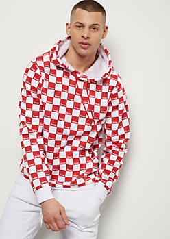 Red Checkered Print Savage Hoodie