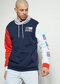 b879c400 Navy Colorblock World Flag Savage Graphic Hoodie
