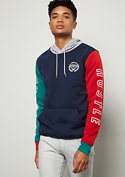 Navy Colorblock Hustle Graphic Hoodie