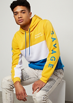 Yellow Colorblock Savage Graphic Hoodie