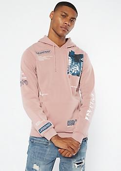 Pink Legend Print Hoodie