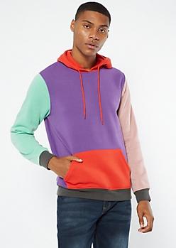 Purple Colorblock Hoodie