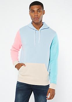 Light Blue Colorblock Hoodie
