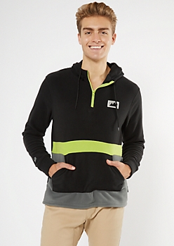 Black Colorblock Polar Fleece Half Zip