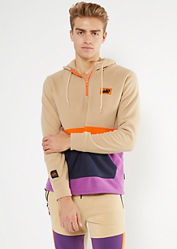 Sand Colorblock Polar Fleece Half Zip