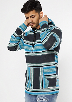 Blue Striped Knit Hoodie