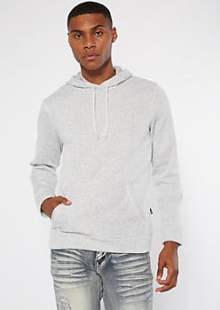 White Ribbed Knit Hoodie