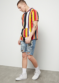White Striped Short Sleeve Hooded Tee