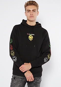 Black Drip All Day Smiley Face Graphic Hoodie