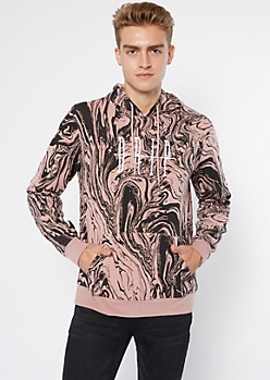 Light Pink Marble Print Drip Embroidered Hoodie