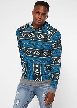 Blue Ikat Print Fleece Hoodie