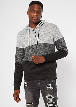 Heathered Gray Colorblock Henley Hoodie
