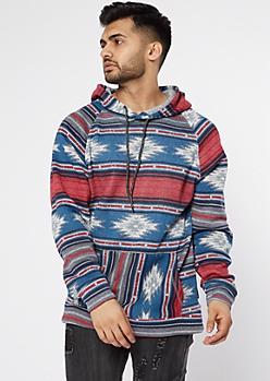 Navy Ikat Print Cozy Pullover Hoodie