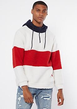 Colorblock Stripe Sherpa Hoodie